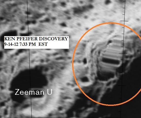 MOON--STRANGE BUILDING NEAR THE ZEEMAN U CRATER DISCOVERED BY KEN PFEIFER 9-14-12 7.33 PM EST.
