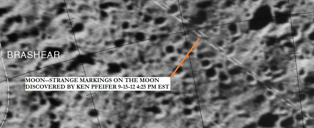 MOON--STRANGE MARKINGS NEAR THE BRASHEAR CRATER DISCOVERED BY KEN PFEIFER 9-15-12 4.24 PM EST.