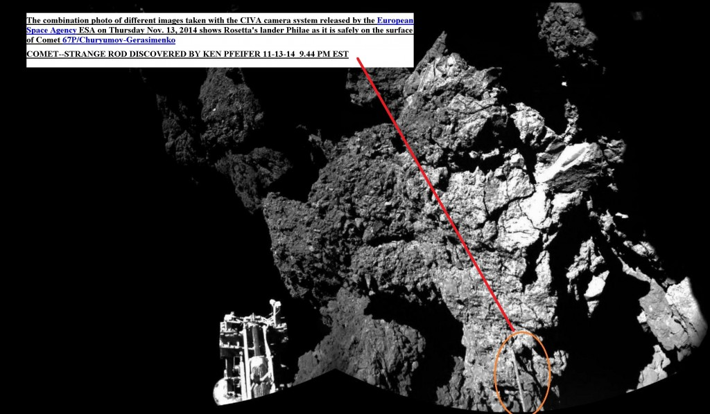 COMET--STRANGE BAR DISCOVERED BY KEN PFEIFER 11-13-14  9.44 PM EST