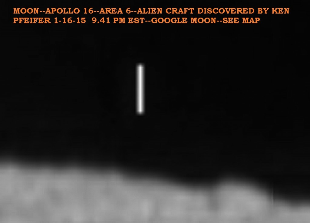 1--MOON-APOLLO 16 UFO ON HORIZON DISCOVERED BY KEN PFEIFER 1-16-15  9.41 PM EST