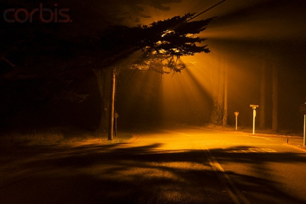 Eerie Street at Night --- Image by © Sam Diephuis/Corbis