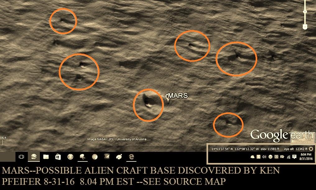 MARS--STRANGE CRAFT BASE DISCOVERED BY KEN PFEIFER 8-31-16   8.04 PM EST.....