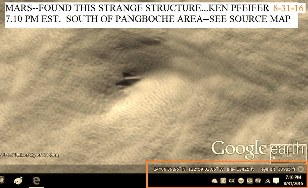 MARS--STRANGE STRUCTURE OR CAVE OPENING DISCOVERED BY KEN PFEIFER 8-31-16  7.10 PM EST